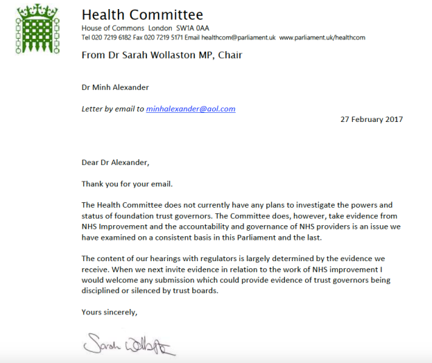 Sarah Wollaston letter evidence on governors.png