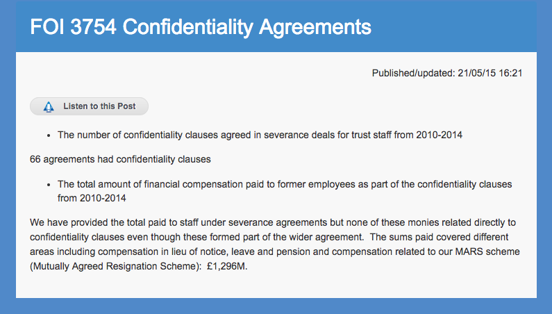 HEFT confidentiality agreements FOI 3754 screenshot