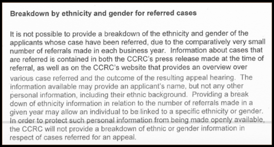 CCRC small numbers ethnicity breakdown
