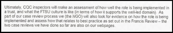 CQC will assess FTSU implementation
