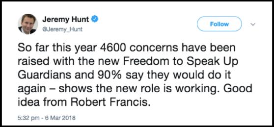 Hunt 90% tweet
