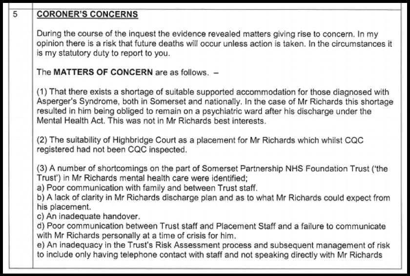 B Coroner's concerns