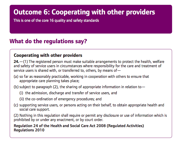 B CQC co op with other providers