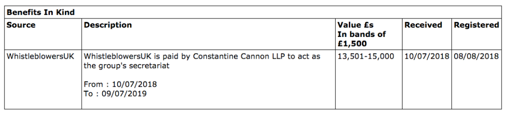 Whistleblowing APPG Constantine Cannon paid WBUK to act as secretariat