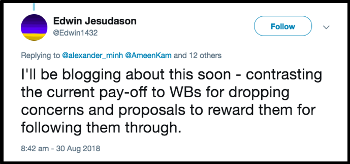 Ed Jesudason tweet bounties instead of pay offs for dropping concerns