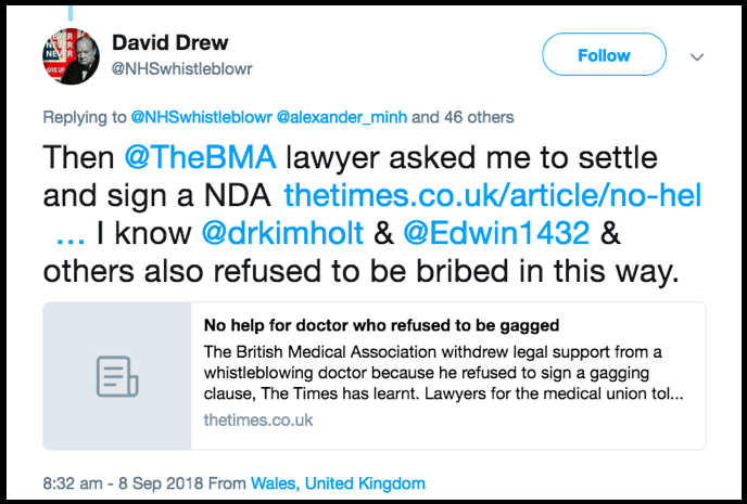 David Drew tweet compromise agreements are bribes
