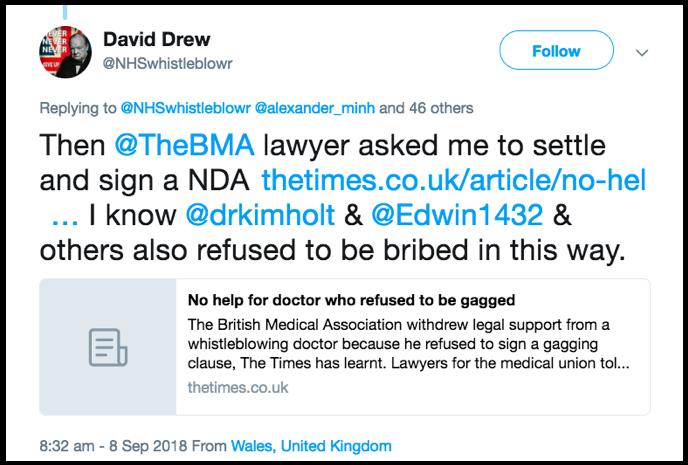 David Drew tweet compromise agreements are bribes