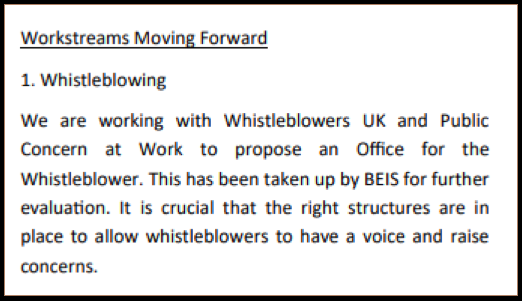 Banking APPG WBUK PCaW Office For the Whistleblower taken up by BEIS