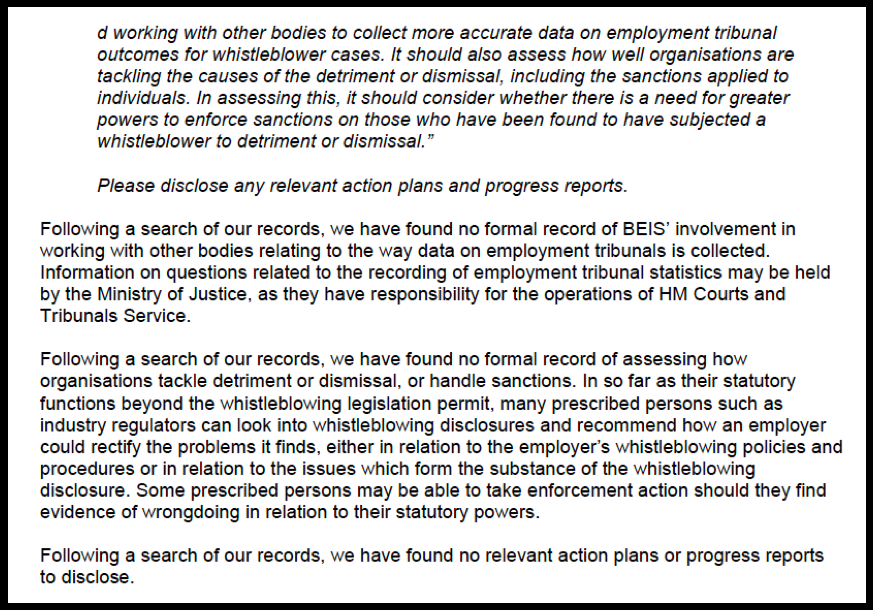 Blog BEIS foi response