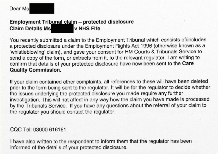 Sheena Pinion ET sent ET1 data to wrong Prescribed Person CQC