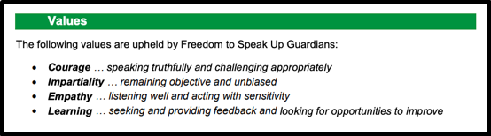 National Guardian's values for Freedom To Speak Up Guardians Courage