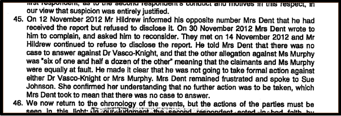 Blog 10 Hildrew misrepresented report to Torbay PVK ET judgment