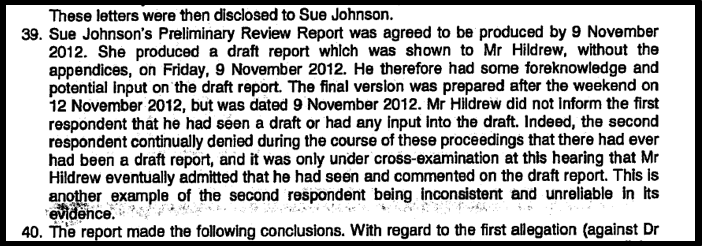 Blog 7 Hildrew lied about draft report PVK ET judgment