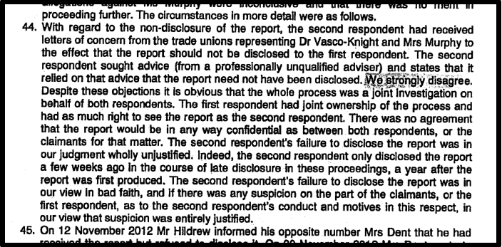 Blog 9 Unions tried to hide report PVK ET judgment