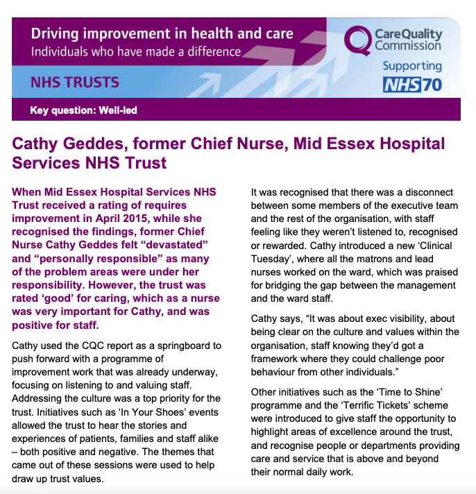 Cathy Geddes excerpt CQC Driving Improvement report