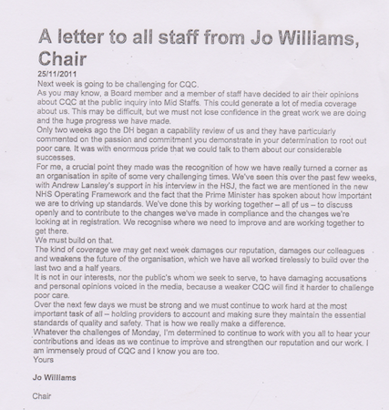 Jo Williams letter to all CQC staff 25 November 2011
