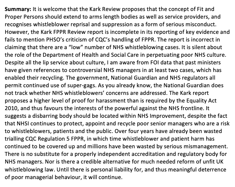 Summary of evidence submitted 3 March 2019 to Health and Social Care Committee for the hearing 12.03.2019 on Kark FPPR Review