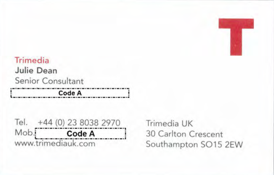 Trimedia UK Julie Dean Senior Consultant business card from Gosport Independent Panel archives