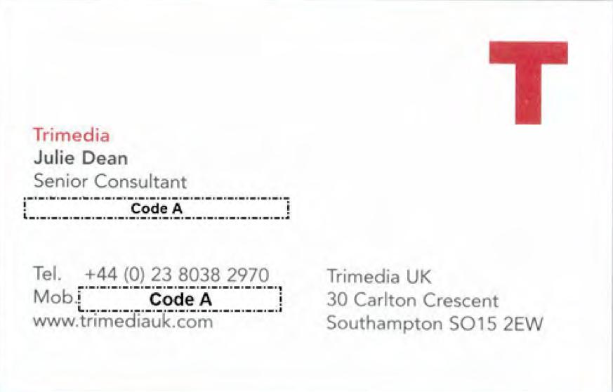 Trimedia UK Julie Dean Senior Consultant business card from Gosport Independent Panel archives