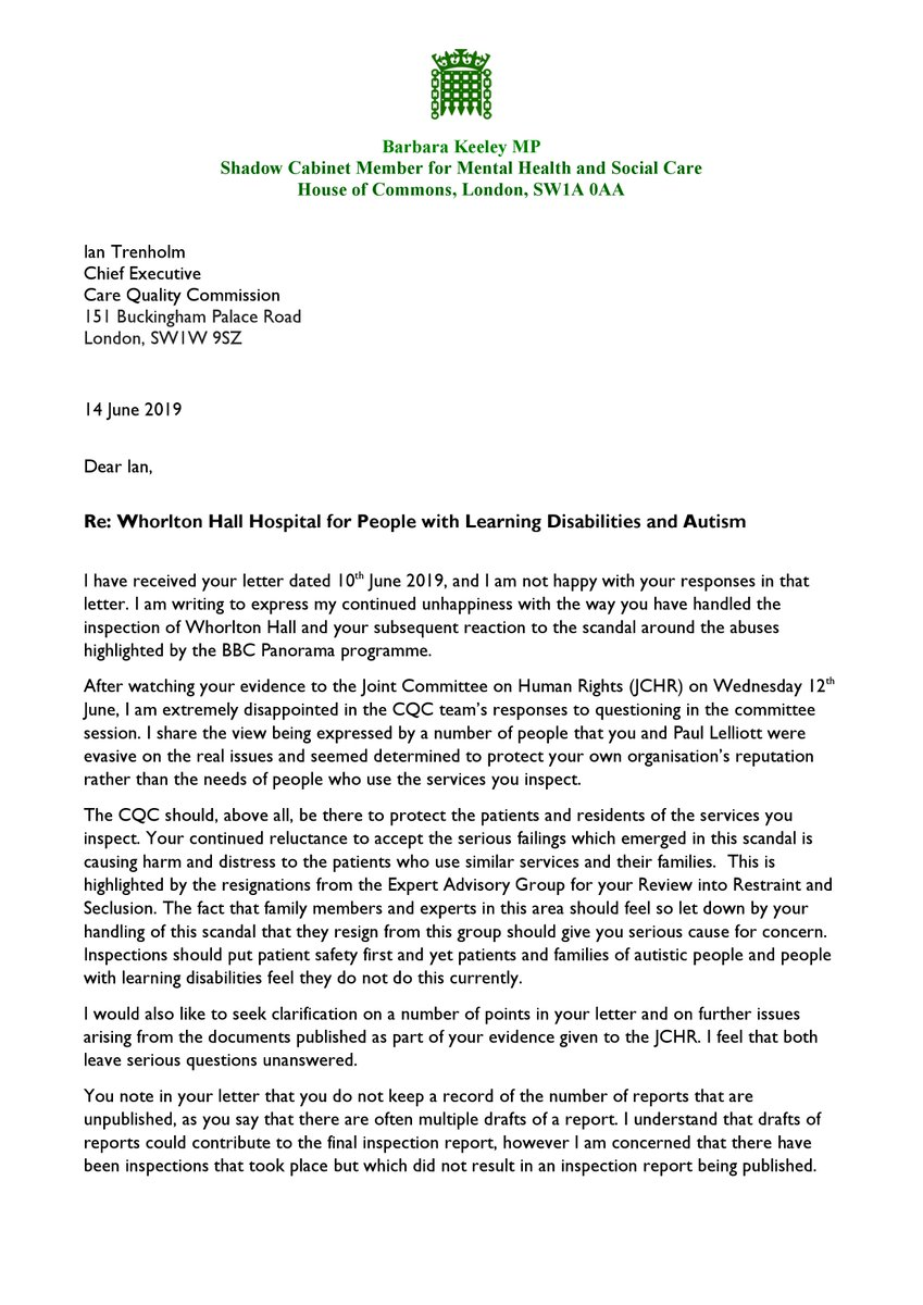 Barbara Keeley letter to Trenholm 14.06.2019 part 1