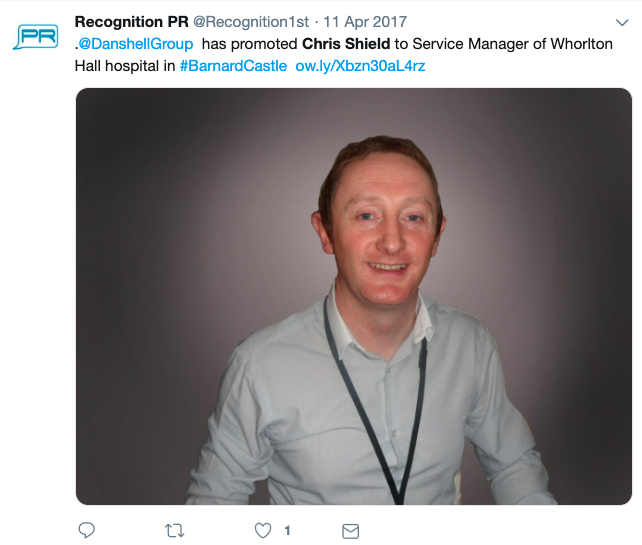 Chris Shield tweet by recognition PR about promotion