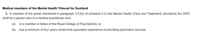 Excerpt Mental Health Tribunal Scotland regulations medical members regulations