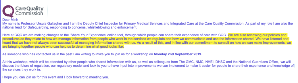 CQC Ursula Gallagher invitation to event 2 September 2019