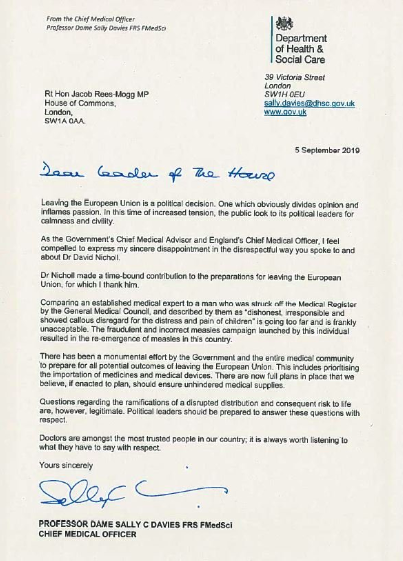 David Nicholl Sally Davies Jacob Rees Mogg letter 5.09.2019