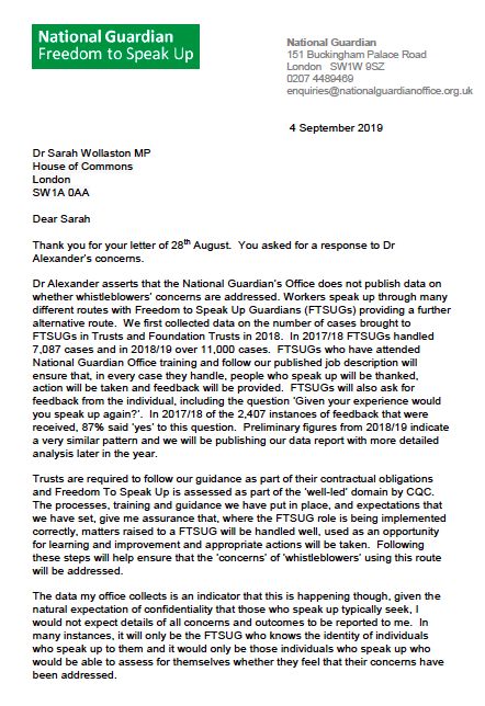 National Guardian letter to Sarah Wollaston 4.09.2019 part 1 tracking whistleblowers' concerns