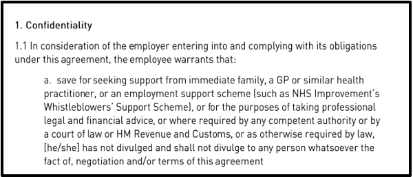 Super gag clause NHS Employers Feb 2019 guidance on settlement agreementsScreenshot 2019-09-27 at 17.22.23