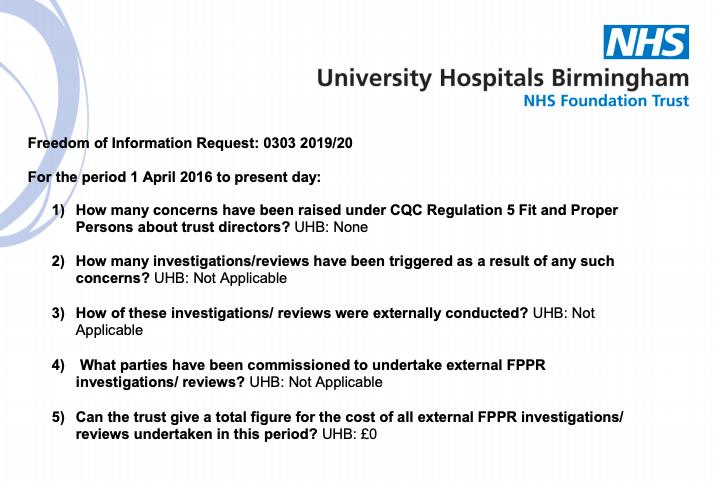 UHBT FOI response to Martin Morton FPPR
