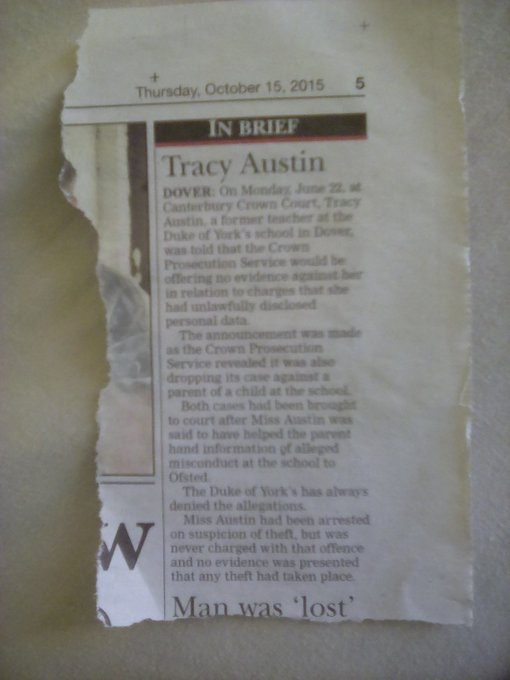 Tracy Austin newspaper clipping no evidence offered by police