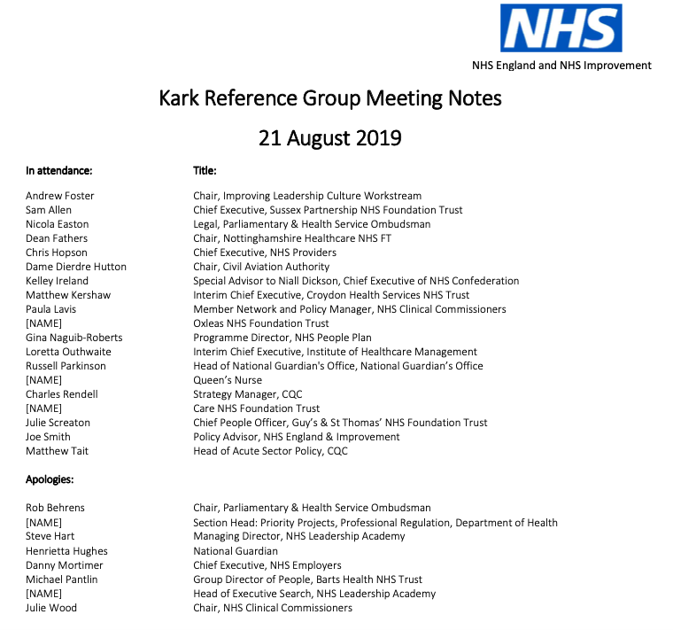 NHSI Kark reference group meeting attendees 21.08.2019