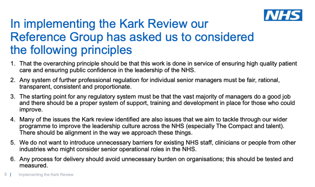 NHSI Kark Reference group principles