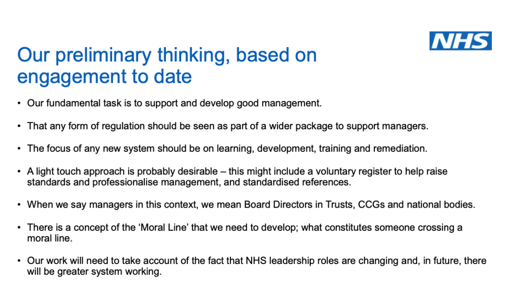 NHSI preliminary thinking on Kark implementation slide 4 oct 2019
