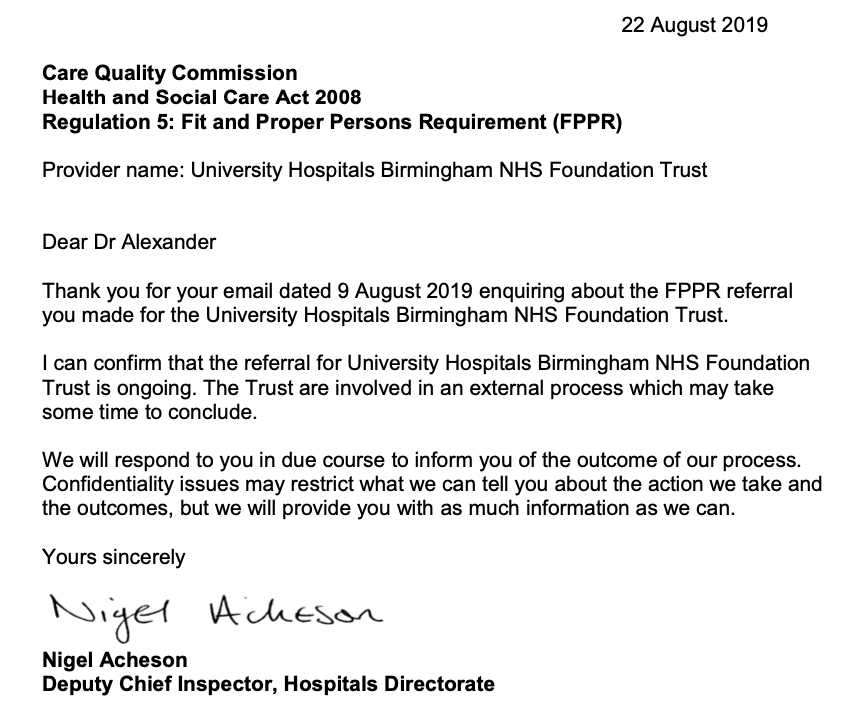 CQC nigel acheson letter 22 august 2019 ongoing fppr review at university hospitals birmingham nhs foundation trust