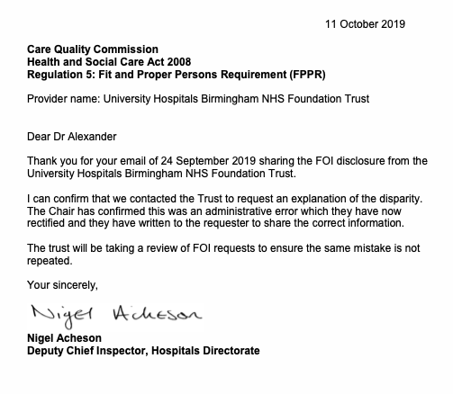 CQC nigel acheson letter 11.10.2019 UHB FOI error