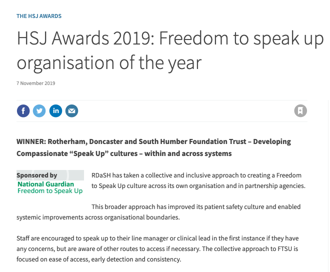 RDASH Freedom To Speak Up Organisation of the year 2019
