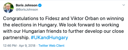 Boris Johnson tweet congratulating Viktor Orban 9.04.2018.png