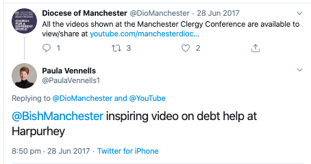 CoE Bishop of Manchester PV twt inspiring video on debt help.png
